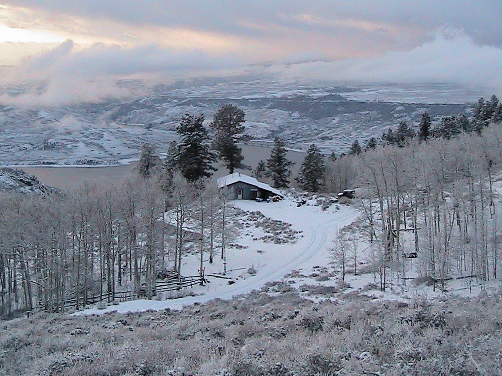 Soap Mesa Outfitters' cabin in the snow