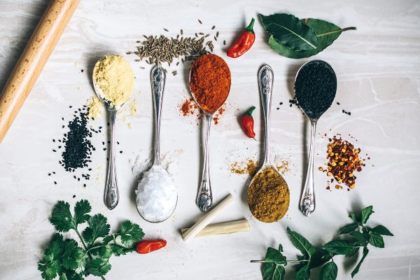 flavors and seasoning with herbs