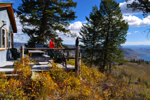 Deck view of Soap Mesa Outfitters cabin.